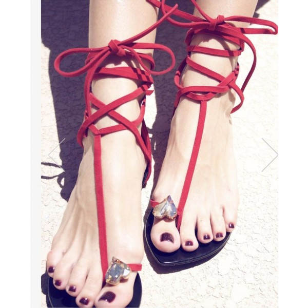 Custom Made Red Strappy Thong Sandals image 1