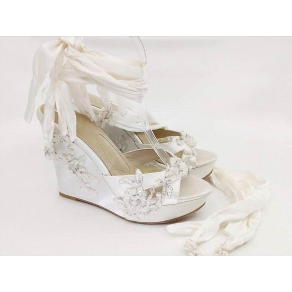 Custom Made White Strappy Wedges image 1