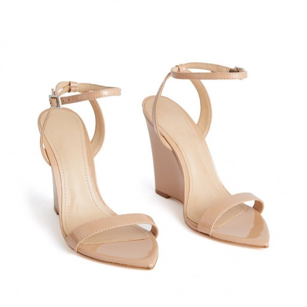 Custom Made Nude Patent Leather Wedge Sandals image 1