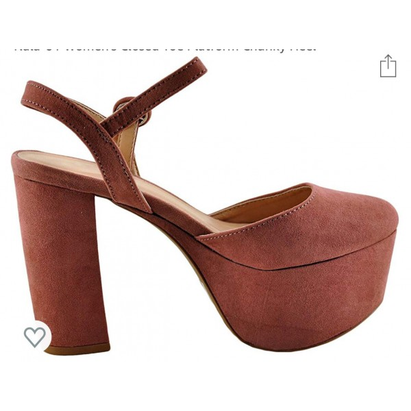 Custom Made Suede Chunky Heel Closed Toe Sandals image 1