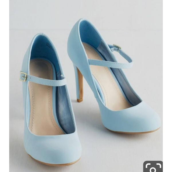 Custom Made Light Blue Mary Jane Pumps image 1