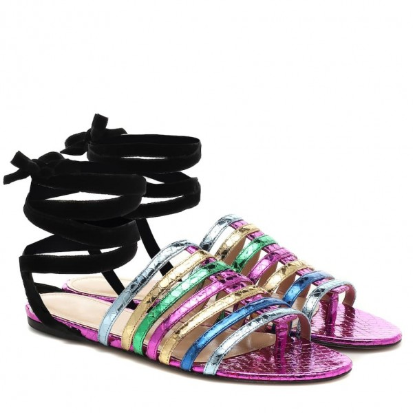 Custom Made Multicolor Snakeskin Strappy Flat Sandals image 1