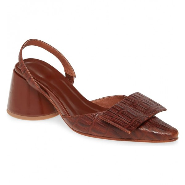 Custom Made Chunky Heel Slingback Pumps in Brown image 1