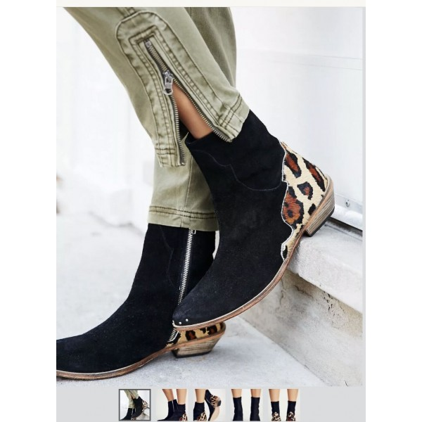 Custom Made Black and Leopard Short Boots image 1