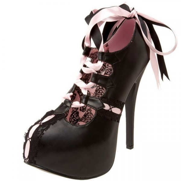 Custom Made Black and Pink Lace up Booties image 1