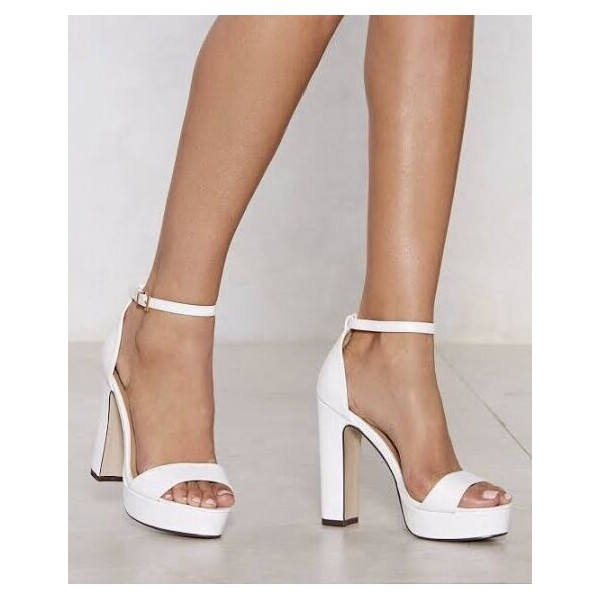 Custom Made White Chunky Heel Platform Ankle Strap Sandals image 1