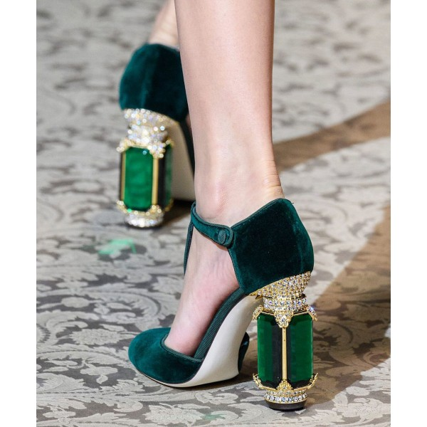 Custom Made Dark Green Velvet T Strap Rhinstone Heel Pumps image 1