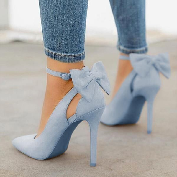 Custom Made Blue Suede Back Bow Ankle Strap Pumps image 1