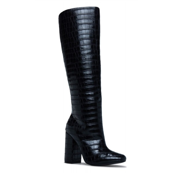 Custom Made Black Croco Chunky Heel Tall Boots image 1