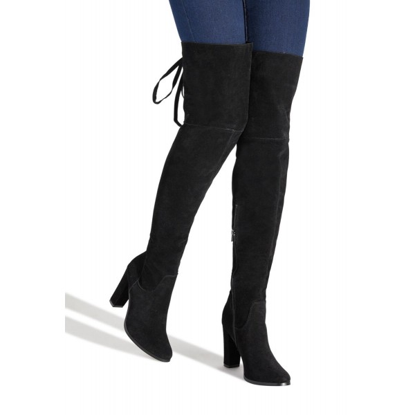 Custom Made Back Laced Chunky Heel Over Knee Boots in Black Suede image 1