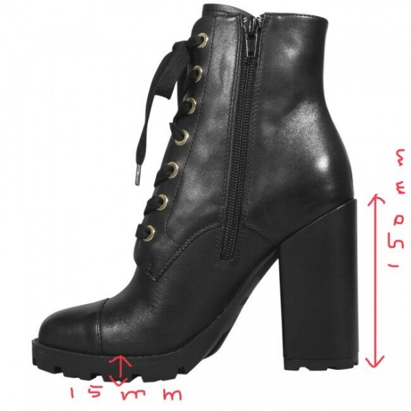 Custom Made Tread Sole Lace up Ankle Boots in Black image 1