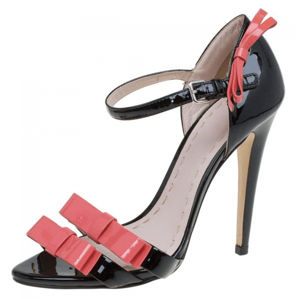 Custom Made Black and Pink Bow Sandals image 1