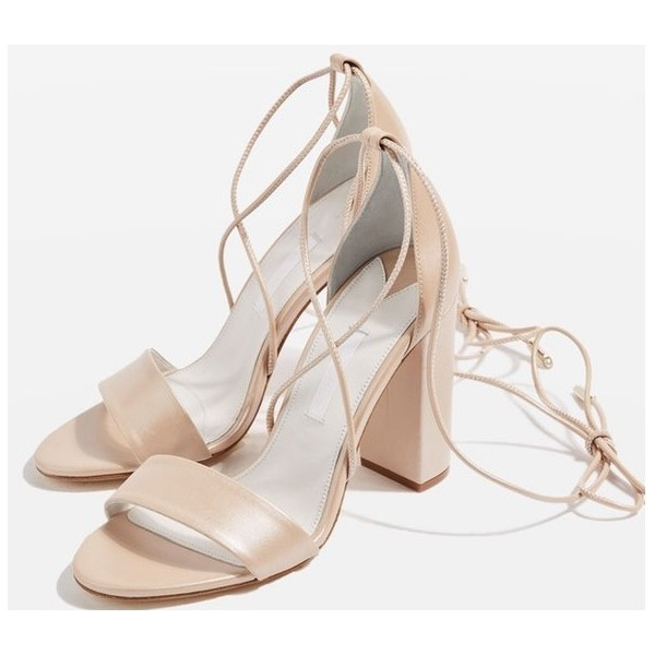 Nude Block Heel Sandals Open Toe Strappy Heels  image 1