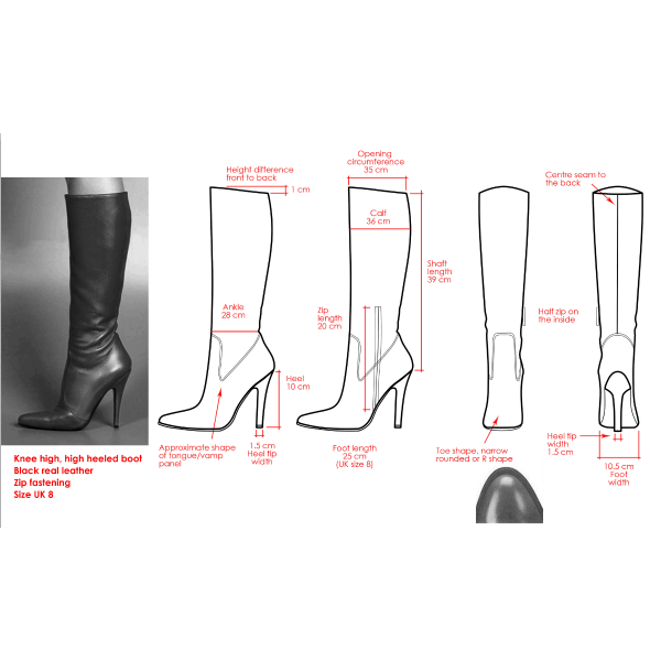 Custom Made Black Knee Boots image 1