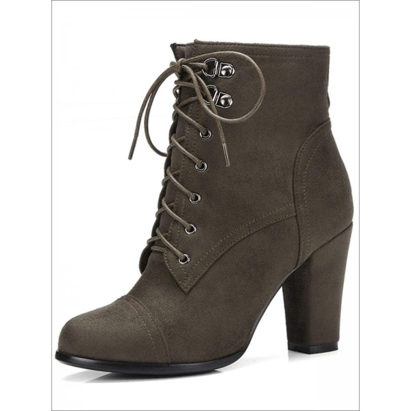 Custom Made Suede Lace up Ankle Boots image 1