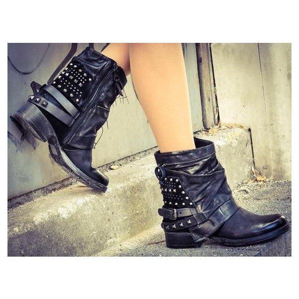 Custom Made Black Studs Ankle Boots image 1