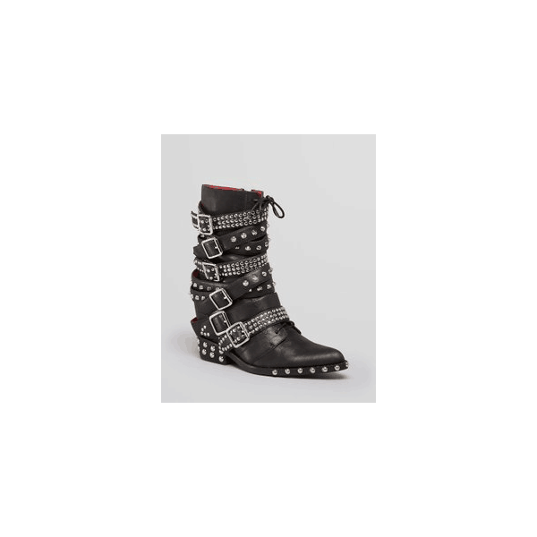 Custom Made Black Buckle Studs Boots image 1