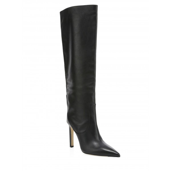 Custom Made Black Pointy Toe Stiletto Heel Boots image 1