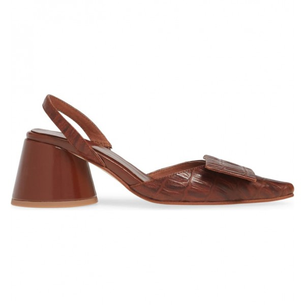 Custom Made Chunky Heel Slingback Pumps in Brown image 3