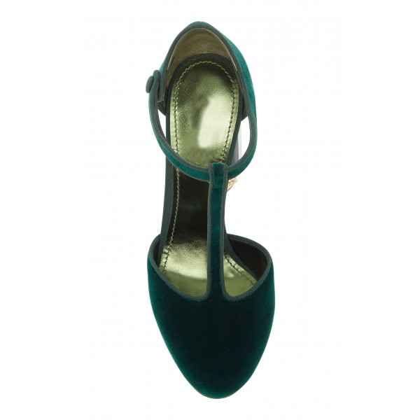 Custom Made Dark Green Velvet T Strap Rhinstone Heel Pumps image 5