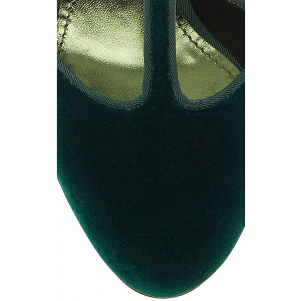 Custom Made Dark Green Velvet T Strap Rhinstone Heel Pumps image 2