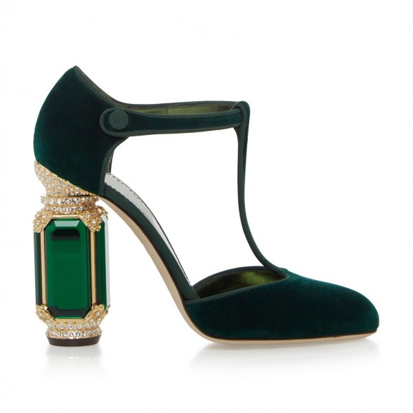 Custom Made Dark Green Velvet T Strap Rhinstone Heel Pumps image 6