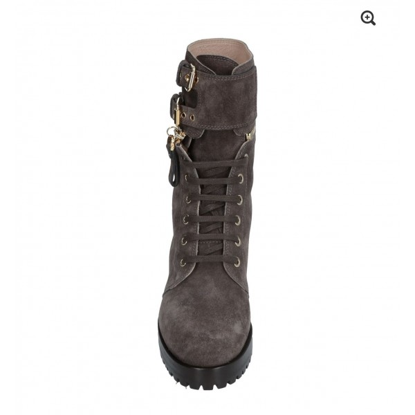 Custom Made Dark Grey Suede Combat Boots image 4