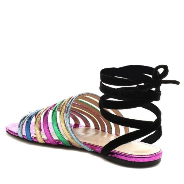 Custom Made Multicolor Snakeskin Strappy Flat Sandals image 2