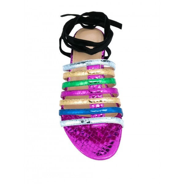 Custom Made Multicolor Snakeskin Strappy Flat Sandals image 3