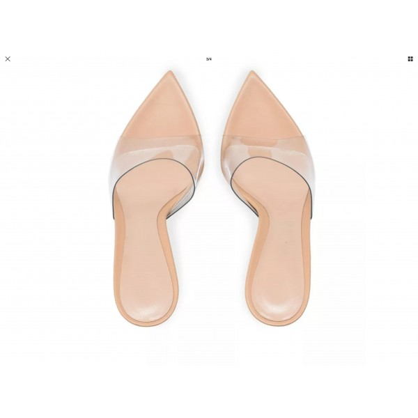 Custom Made Nude and Clear Pointy Toe