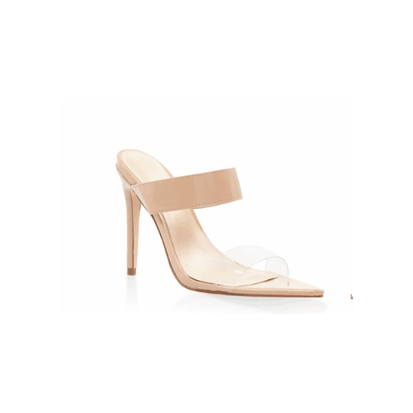 Custom Made Nude Mule Heels Sandals Open Toe Clear Shoes image 1
