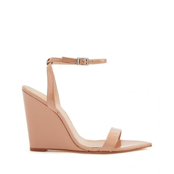 Custom Made Nude Patent Leather Wedge Sandals image 2