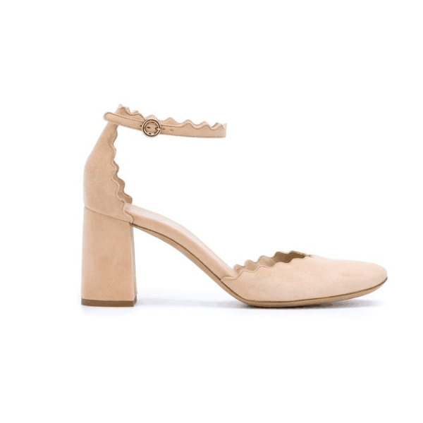 7b706519e3 ... Custom Made Nude Suede Ankle Strap Chunky Heel Sandals image 2 ...