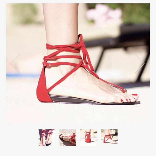 Custom Made Red Strappy Thong Sandals image 4