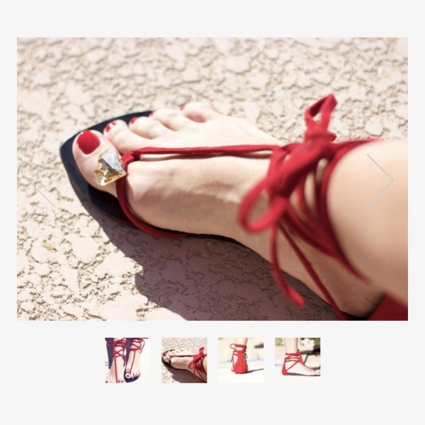 Custom Made Red Strappy Thong Sandals image 3