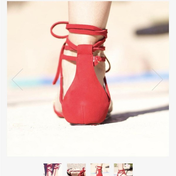 Custom Made Red Strappy Thong Sandals image 2