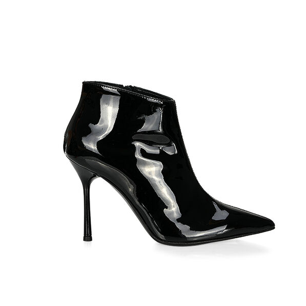 Custom Made Stiletto Heel Patent Leather Ankle Booties in Black image 2