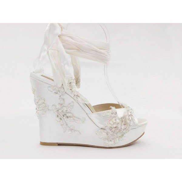 Custom Made White Strappy Wedges image 2