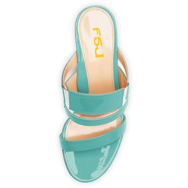 Cyan Patent Leather Clear PVC Block Heels Mule Sandals image 2
