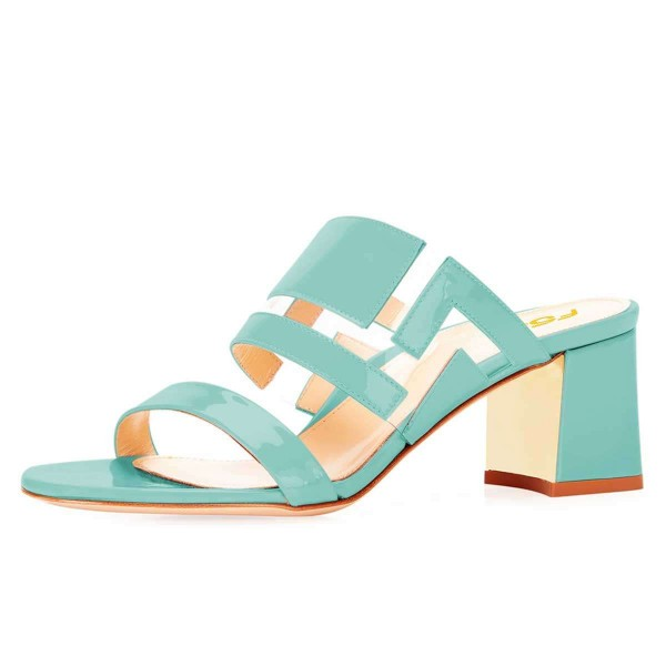Cyan Patent Leather Clear PVC Block Heels Mule Sandals image 1