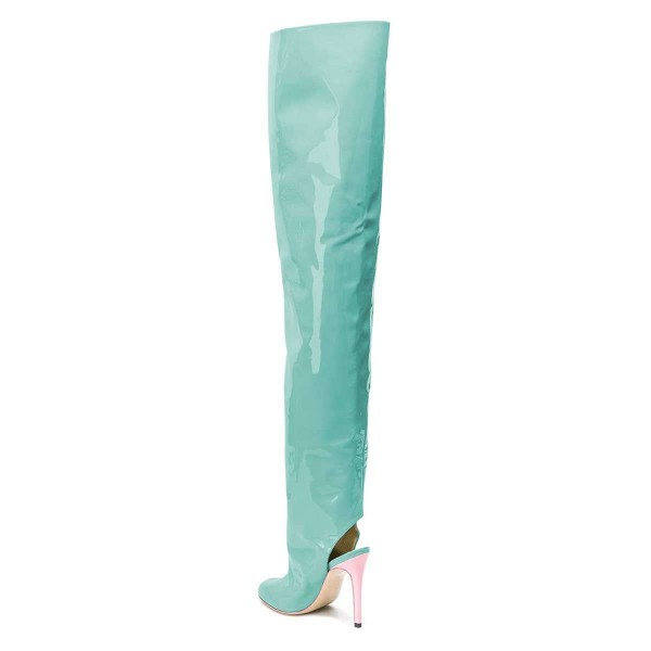 Cyan Patent Leather Slingback Stiletto Boots Over-the-knee Boots image 3