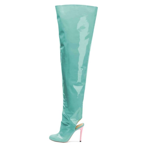 Cyan Patent Leather Slingback Stiletto Boots Over-the-knee Boots image 2