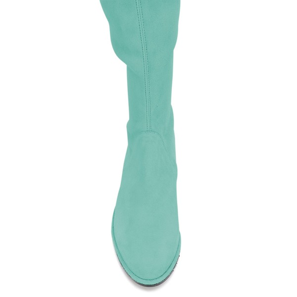 Cyan Round Toe Chunky Heels Long Boots Suede Over-the-knee Boots image 3