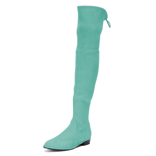 Cyan Round Toe Chunky Heels Long Boots Suede Over-the-knee Boots image 1