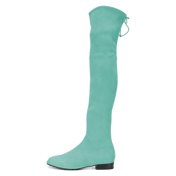 Cyan Round Toe Chunky Heels Long Boots Suede Over-the-knee Boots image 2