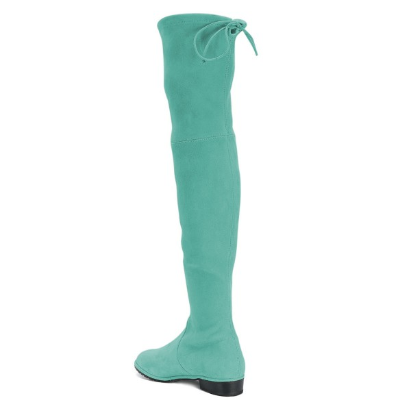 Cyan Round Toe Chunky Heels Long Boots Suede Over-the-knee Boots image 4