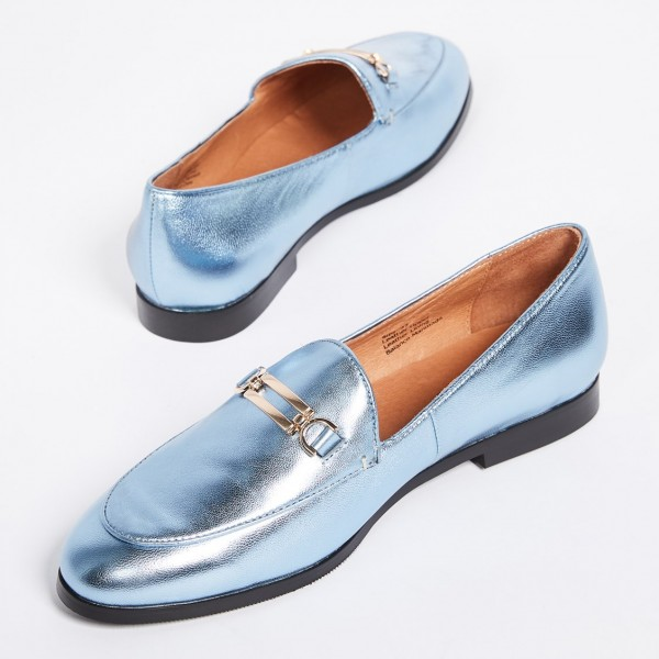 Light Blue Round Toe Comfortable Flats Loafers for Women image 1