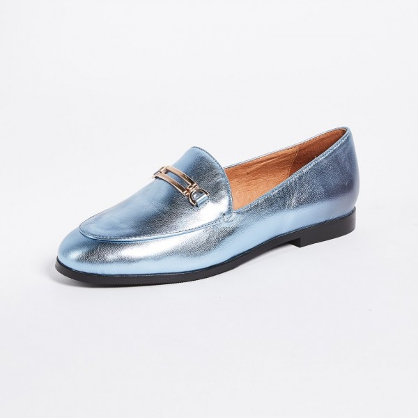 Light Blue Round Toe Comfortable Flats Loafers for Women image 3