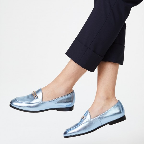 Light Blue Round Toe Comfortable Flats Loafers for Women image 2