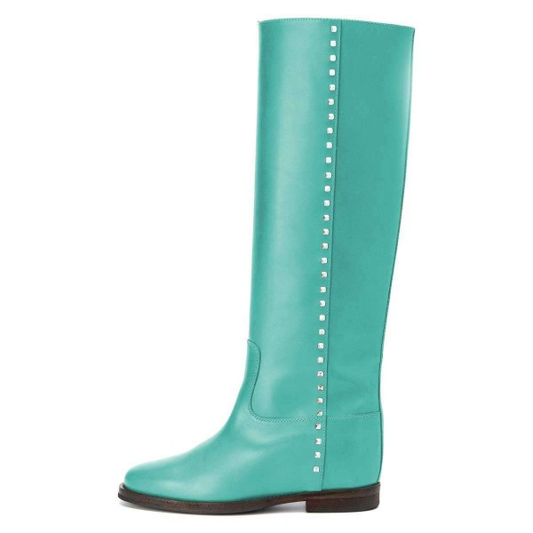 Cyan Studs Flat Long Boots Knee High Boots image 3